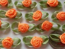 100! Satin Ribbon Roses With Leaves - Lovely Orange Rose Embellishments!