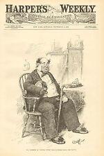 "Political Cartoon, New York, ""Captain Cuttle"" Vintage 1888 Antique Print."