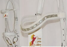 Fss Curve Shape Crystal 3row Clear Ripple Wave Bling German Comfort White Bridle