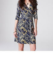 Lucky Brand Faux Wrap Mayan Demi Dress Size X-Large NWT Blue Multi Color