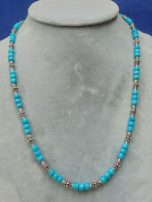 "BEAUTIFUL SOUTHWEST USA TURQUOISE & .925 BALI STERLING SILVER 21 1/4"" NECKLACE"