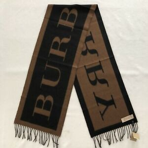 Burberry LOGO Men's Scarf Cashmere Camel Black 100% Authentic 170x30cm Made UK