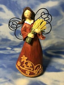 """7"""" Carved Wood Style Resin Fall Harvest Angel Figurine Metal Wings Wheat GUC"""