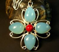 Blue Chalcedony and Red Jasper Sterling Silver Pendant