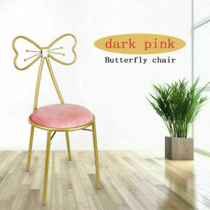 Golden Butterfly Backrest Chairs with Pink Velvet Cushion Bow Tie Chair Stools