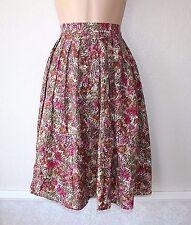 Vintage Red Multicolored Pleat Skater Knee Length Ladies Skirt Size UK 12 14