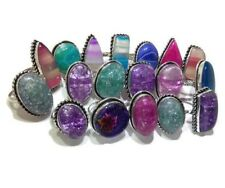 Bulk Lot !! 20 PCs. Aqua Dichroic & Agate Glass 925 Silver Plated Ring Jewelry