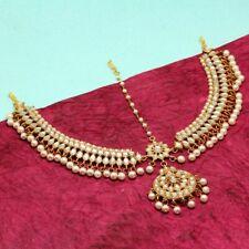 Kundan Matha Patti Indian Earrings Jhumka Bollywood Ethnic with maag tikka WHITE