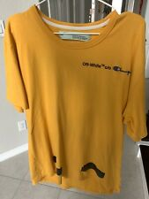 Off White x Champion Yellow T-Shirt Virgil Abloh Size XL
