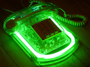 VINTAGE 1980's ROXANNE MANUNEON GREEN NEON CLEAR LUCITE TELEPHONE WORKING