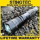 STINGTEC BLACK METAL Stun Gun MAX POWER Rechargeable LED Flashlight w/ Case NEW