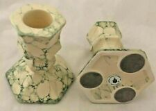 Set Of 2 Partylite Candlesticks Taper Candle P0591 Green Marbling