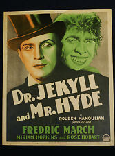 DR. JEKYLL AND MR. HYDE 1931 * FREDRIC MARCH * WINDOW CARD * CLASSIC 30'S HORROR