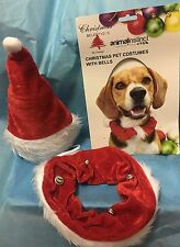 Christmas Pet Costumes With Bells- Hat & Collar 100% Polyester