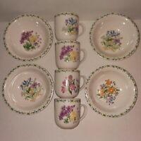 THOMSON POTTERY CHINA Floral Garden 4 Mugs 4 Bowls Iris Crocus Daffodil