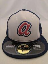 New Era Atlanta Braves Hat Cap Blue White Fitted 7 1/2 MLB Baseball Mens 2014