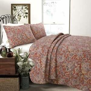 KING Size 100% Cotton Paisley Reversible 3 Pc Cottage Quilt Set Machine Wash