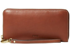 "FOSSIL EMMA RFID LARGE LEATHER ZIP CLUTCH ""BROWN"" MSRP $85 ~ NWT!"