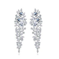 All AAA Cubic Zirconia CZ Pierced Earrings Wedding Party Prom Pageant 6cm Long