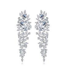 All AAA Cubic Zirconia CZ Pierced Earrings Wedding Party Prom Pageant 6cm Long