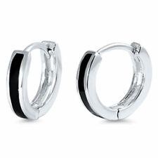 Black Onyx Bar Huggie Hoop .925 Sterling Silver Earrings Gift Box D19