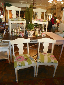 Vintage Shabby Chic Painted Off White Set of Four Upholstered Colorful w/ Birds