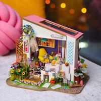 Robotime Miniatur Puppenhaus Kits DIY Möbel LED Spielzeug für Kinder Mädchen