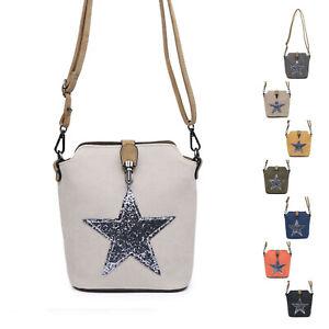 Small Canvas Messenger Cross Body shoulder Shining Star Bag Woman Lady UK
