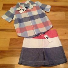 Baby Gap Boys Size 3 / 3T Outfit. Red, White & Blue Shirt & Shorts. Nwt