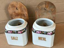 2 Porzellan Vorratsgefäße Vorratsbehälter Wandbehälter SALZ und MEHL *