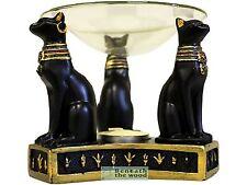 Egyptian Bast GATTO bruciatore a nafta-Tè Leggero Supporto in nero e oro.