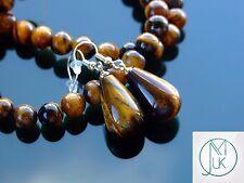 Tigers Eye Natural Gemstone Earrings Drop Quartz Crystal Healing Stone Chakra