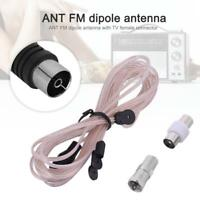 FM Dipole Radio Antenna Coax F-Type Receiver Connector Coaxial Home Theater TV