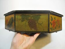 Beautiful Old Antique Chinese Octagon Shape 8 Sided Hand Painted Sewing Wood Box