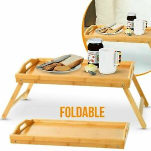 BAMBOO WOODEN BED TRAY WITH FOLDING LEGS SERVING BREAKFAST LAP TRAY TABLE SHELF