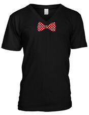 Polka Dot White And Red Bowtie  Mens V-neck T-shirt