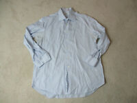 Fray Button Up Shirt Adult Large Blue White Neiman Marcus Long Sleeve Mens *
