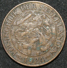 More details for 1924   netherlands 1 cent 'key date'   bronze   coins   km coins