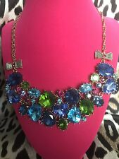 Betsey Johnson Blue Lagoon Turquoise Sea Jewel Stone Crystal Bib Bow Necklace