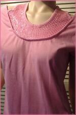 "Light Pink Cotton Knit Top (M) Short Sleeve - Sequin Halter Collar - 36"" bust"