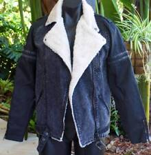 RVCA James Dean Black Acid Denim Trucker Jacket Biker Coat Mens size Medium NEW