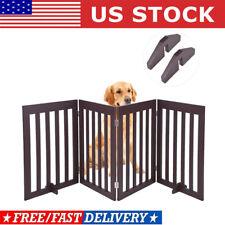 Solid Dog Pet Fence Wood Playpen Gate Barrier Free Standing Folding Adjustable