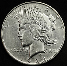 1923-d Peace Silver Dollar.  Long Die Break Obverse.  A.U.  95030