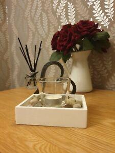 Rustic, shabby chic Wooden Tea Light Holder,   UK handmade, decorative pebbles.