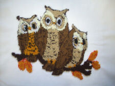 Completed punch needle owl trio