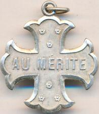 Médaille scolaire, AU MERITE, en métal argenté, bélière sans ruban, Sans (7738)