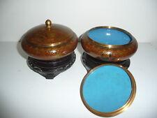 lot 2 bonbonnière / pot couvert en émaux cloisonné + socle , diamétre 13 cm