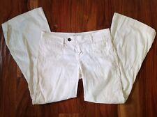 Anthropologie Level 99 Cream Wide Leg Pant Sz 29/ 6 Linen Blend Trouser