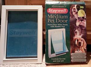 Staywell Medium Pet Door WHITE Finish With Flexible Flap PLUS ALUMINIUM CLOSER