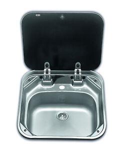 SMEV 8006  Boat Caravan Camper Sink with glass lid 420mm x 440mm      VA8006